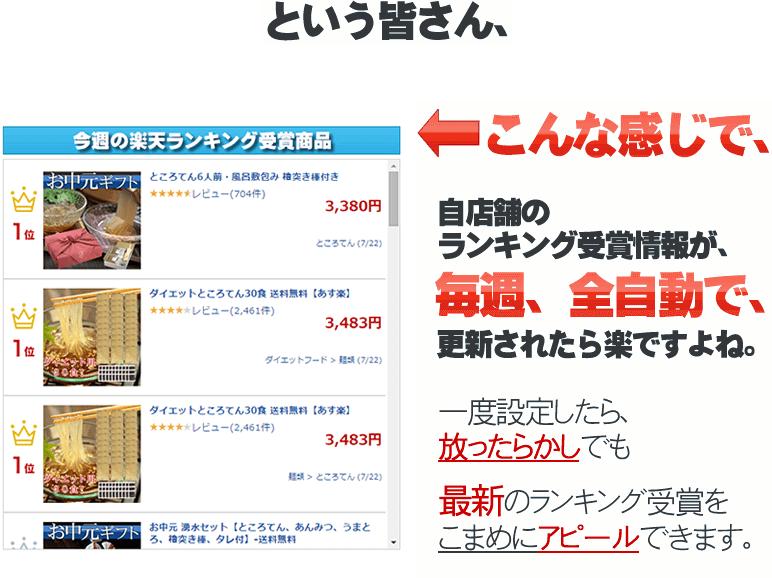 楽天ランキング受賞商品の掲載見本